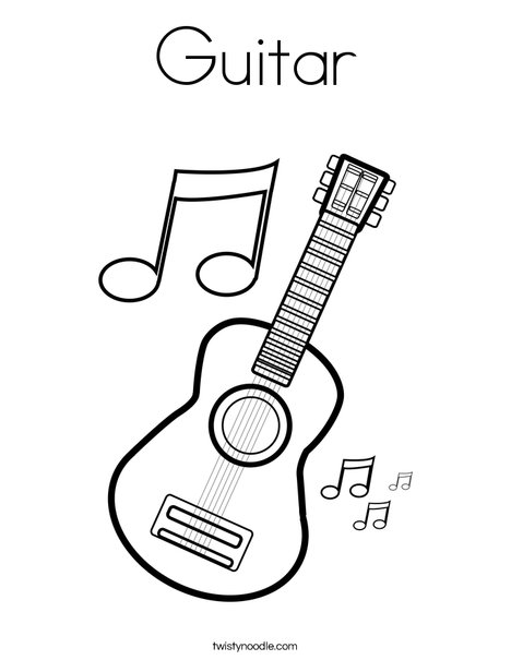 guitar with music notes coloring page - Guitar Coloring Pages