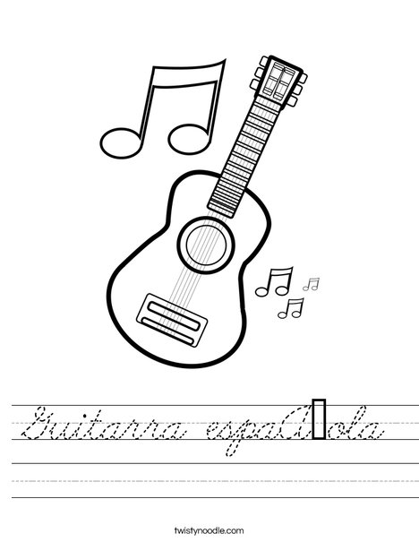 Guitar with Music Notes Worksheet