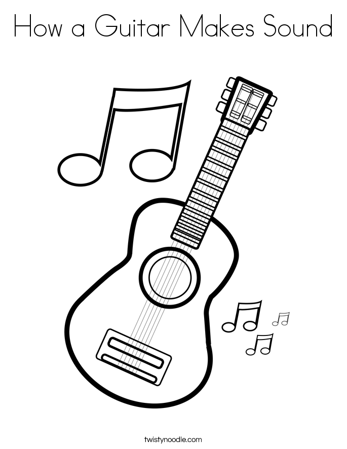How a Guitar Makes Sound Coloring Page