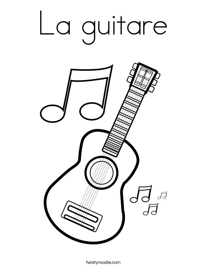 La guitare Coloring Page