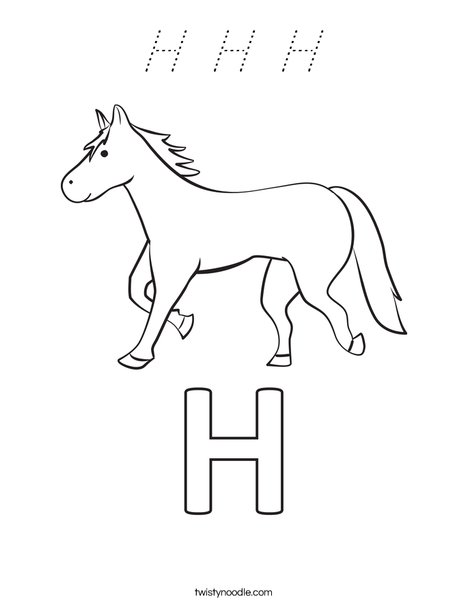 H Horse Coloring Page