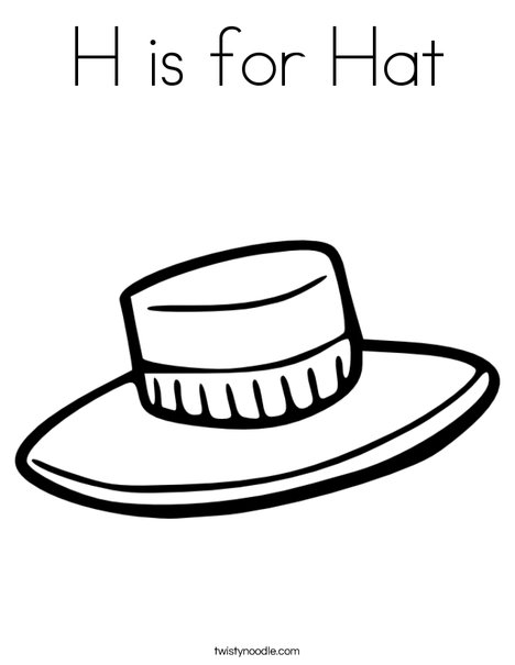 H is for Hat Coloring Page