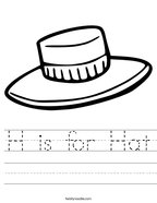 H is for Hat Handwriting Sheet