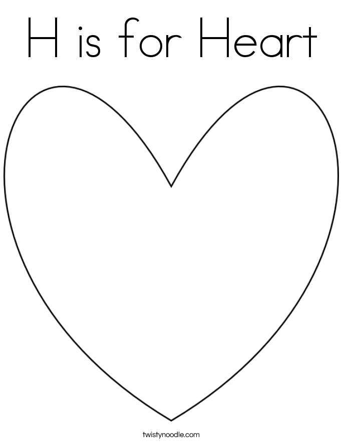 H is for Heart Coloring Page Twisty Noodle