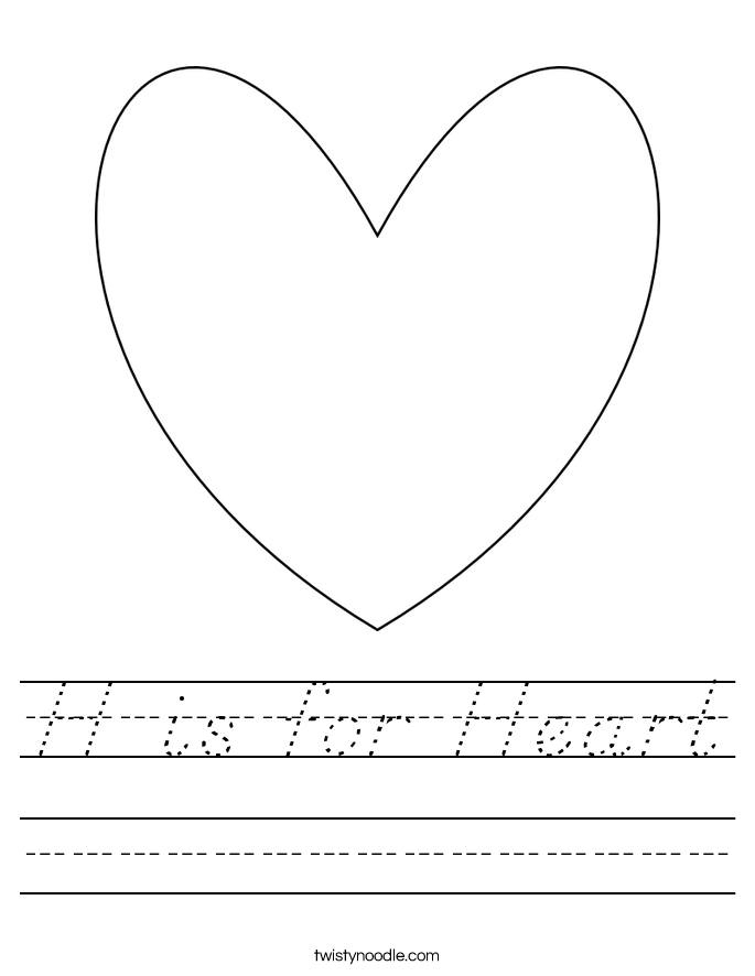 H is for Heart Worksheet