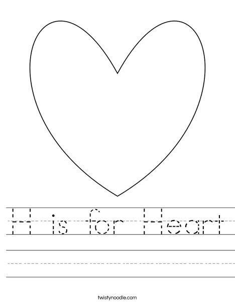 h is for heart worksheet twisty noodle. Black Bedroom Furniture Sets. Home Design Ideas