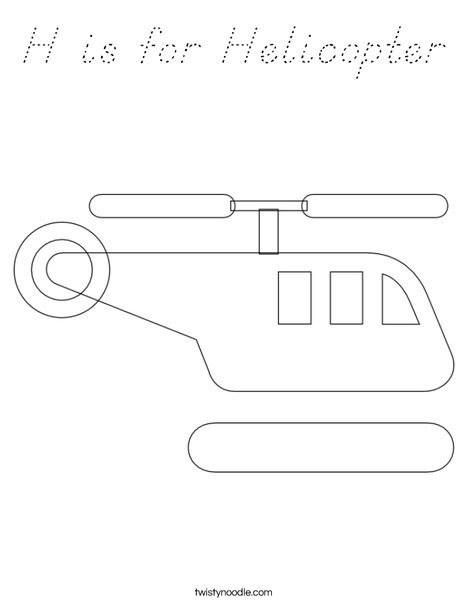 H is for Helicopter Coloring Page