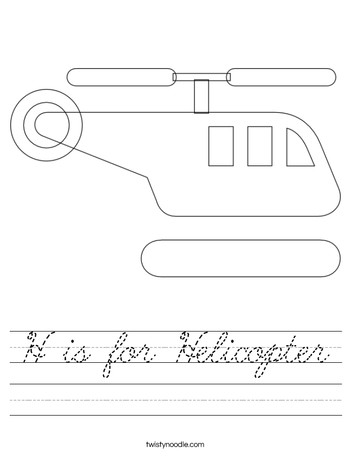 H is for Helicopter Worksheet