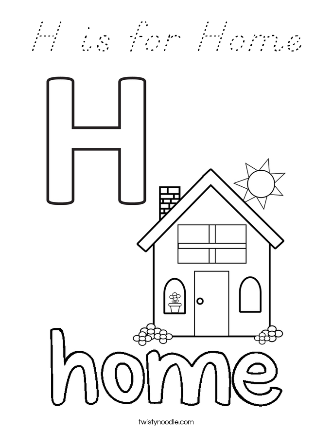 H is for Home Coloring Page