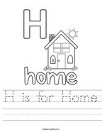 H is for Home Handwriting Sheet