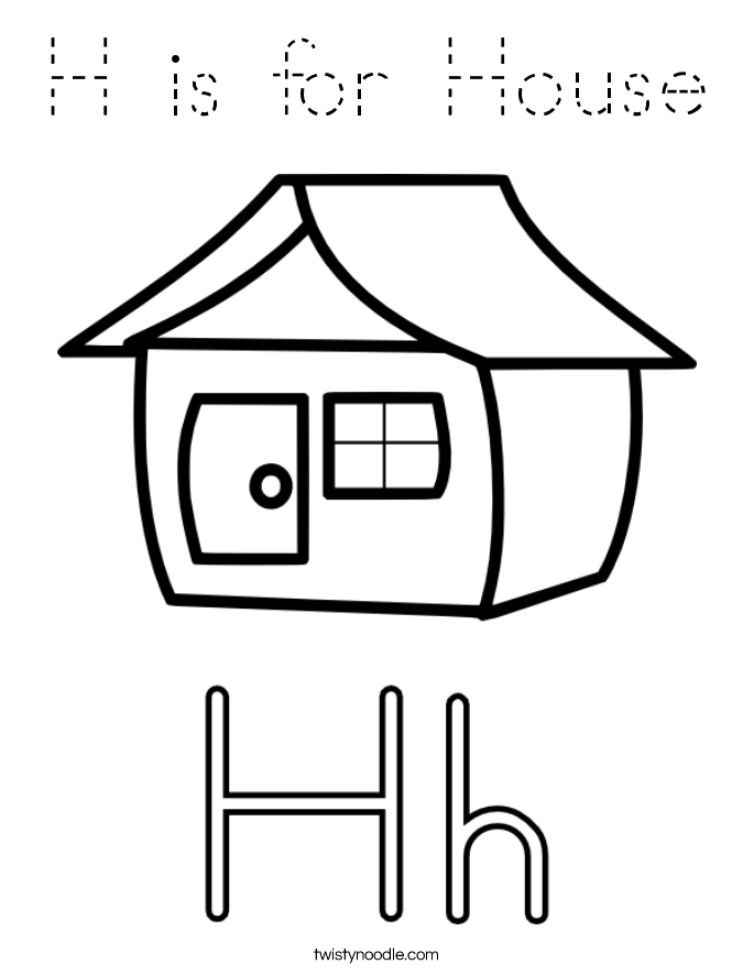H is for House Coloring Page - Tracing - Twisty Noodle