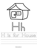 H is for House Handwriting Sheet