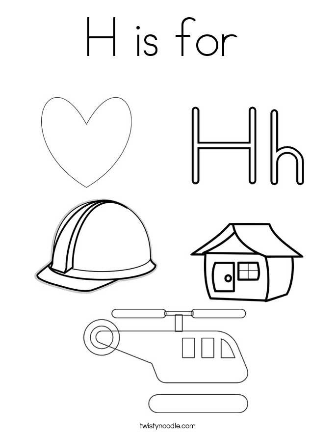 h is for coloring page