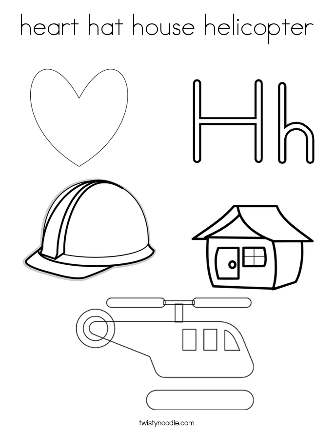 heart hat house helicopter Coloring Page
