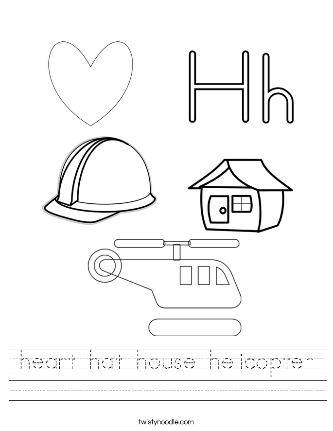 heart hat house helicopter Worksheet