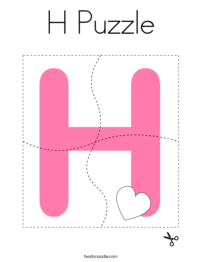 H Puzzle Coloring Page