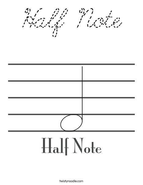 Half Note Coloring Page