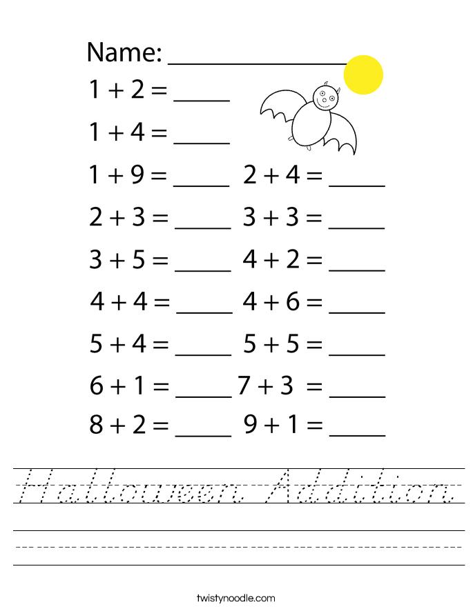 Halloween Addition Worksheet