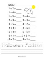 Halloween Addition Handwriting Sheet