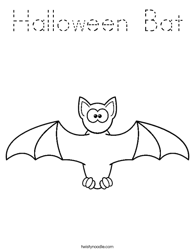 Halloween Bat Coloring Page Tracing