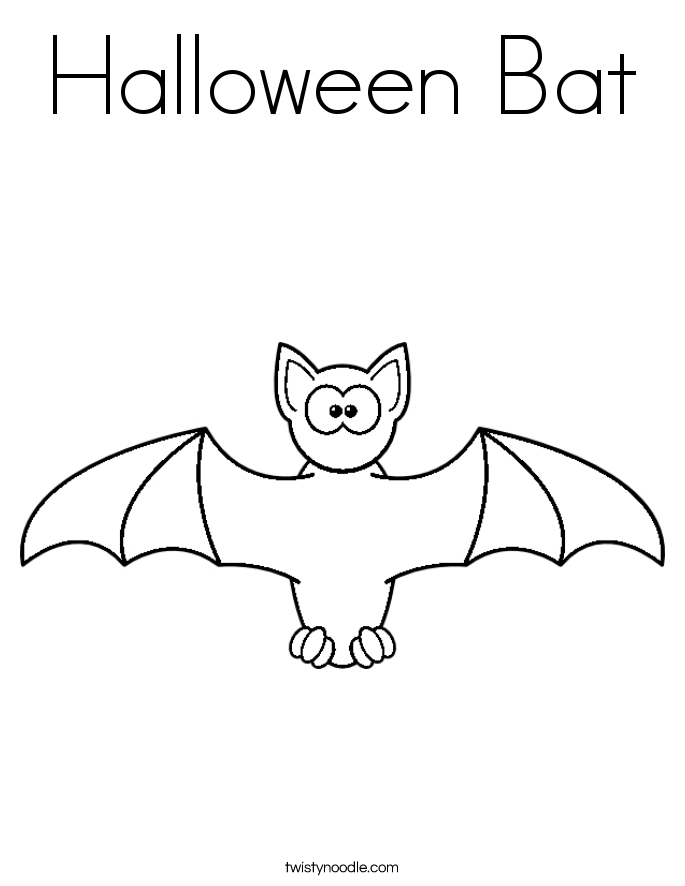 Halloween Bat Coloring Page - Twisty Noodle