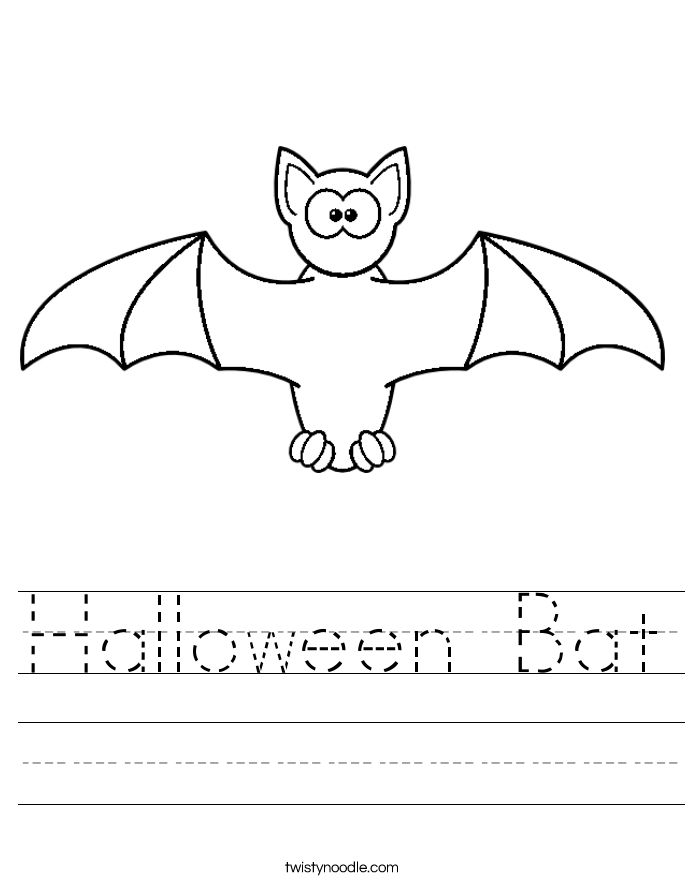 Tracing Bat worksheets for preschool. Bat coloring Page ...