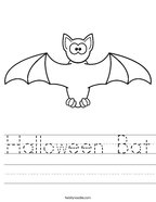 Halloween Bat Handwriting Sheet