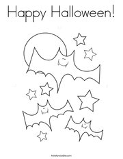 Halloween Bats and Stars Coloring Page