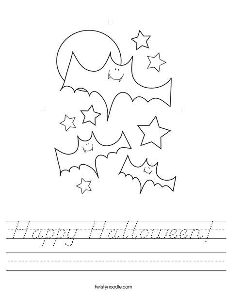 Halloween Bats and Stars Worksheet