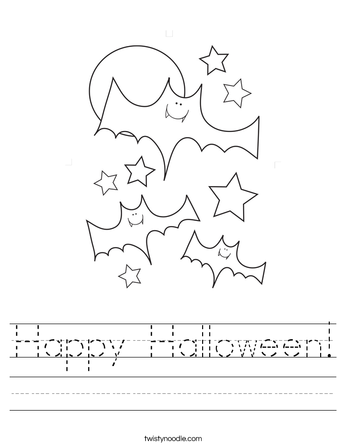 Worksheet Halloween Worksheets happy halloween worksheet twisty noodle handwriting sheet