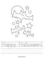Happy Halloween Handwriting Sheet
