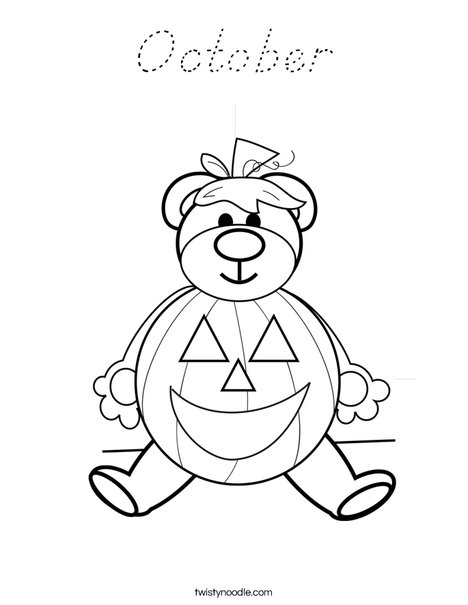 Halloween Bear Coloring Page
