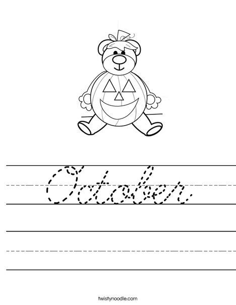 October Worksheet - Cursive - Twisty Noodle