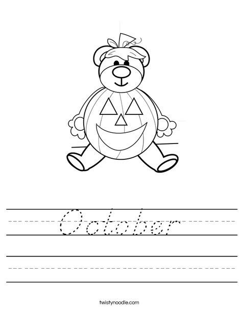 Halloween Bear Worksheet