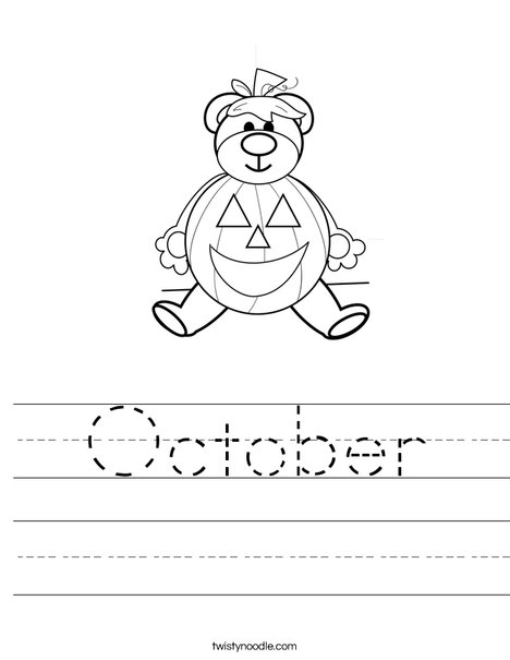 Halloween Bear Worksheet