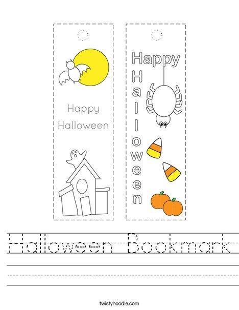 Halloween Bookmark Worksheet