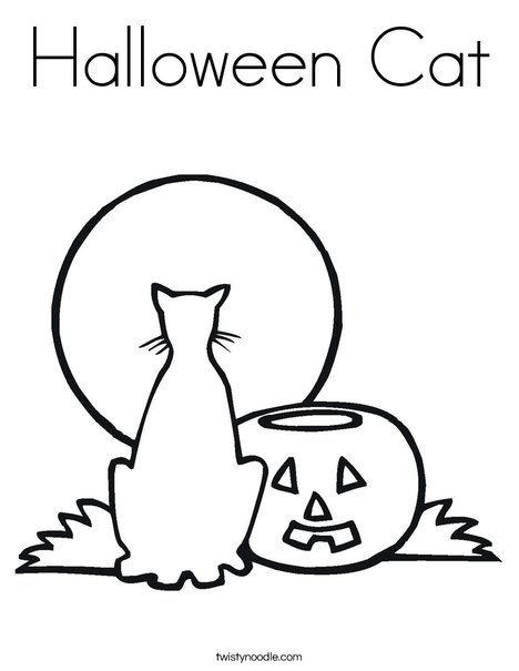 Halloween Cat Coloring Page Twisty