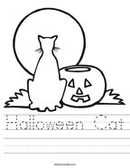 Halloween Cat Handwriting Sheet