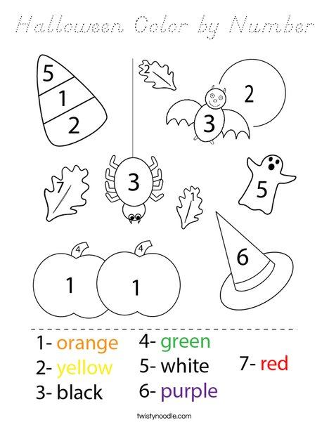 Halloween Color by Number Coloring Page