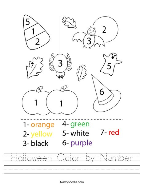 Halloween Color by Number Worksheet