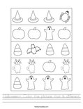 Halloween- Color the picture that is different. Worksheet