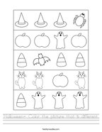 Halloween- Color the picture that is different Handwriting Sheet