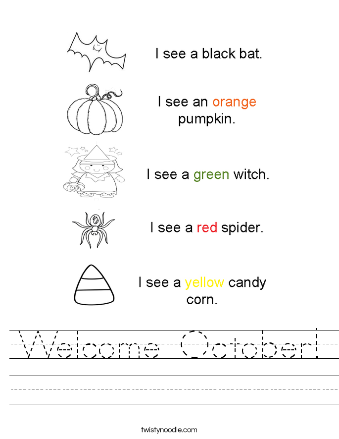 Welcome October! Worksheet