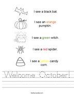 Welcome October Handwriting Sheet