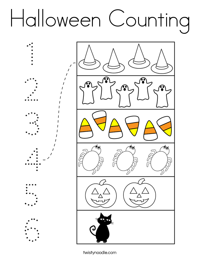 Halloween Counting Coloring Page - Twisty Noodle