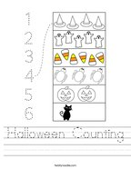 Halloween Counting Handwriting Sheet