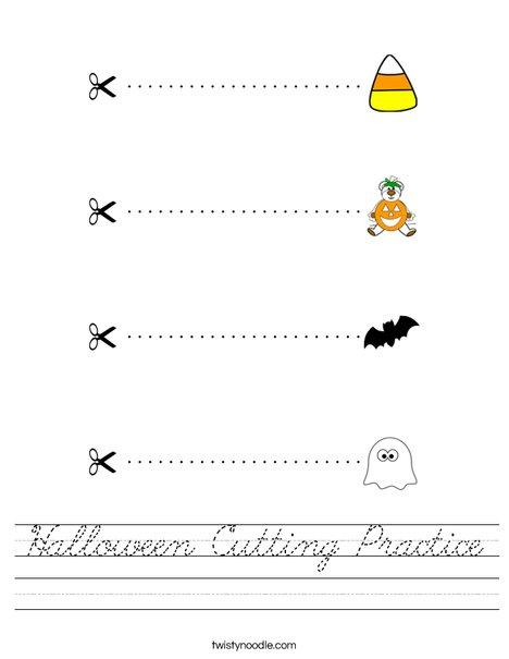 Halloween Cutting Practice Worksheet