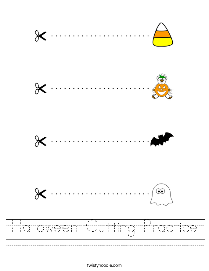 Halloween Cutting Practice Worksheet