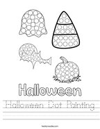 Halloween Dot Painting Handwriting Sheet