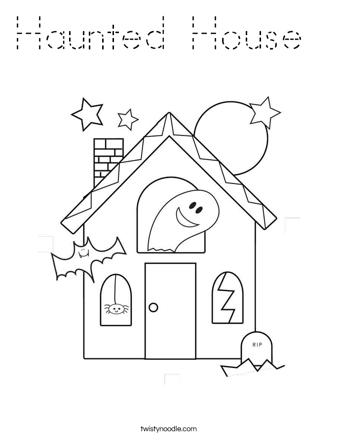 Haunted House Coloring Page Tracing